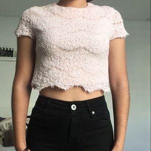 Crochet light pink crop top